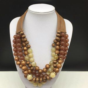 Chico's Tan Leather Brown Wood Beaded Necklace